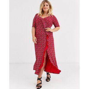 NWT Asos Curve 24 Ruffled Maxi Dress Floral Jersey